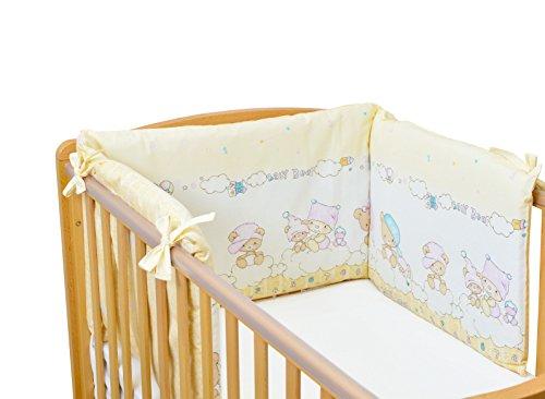 Sei Design® Nestchen 36x180, Bezug 100% Baumwolle mit integriertem Reißverschluss. Passend zu Kinderbettwäsche Bettset Baby Bär (Nestchen, Baby Bär beige)