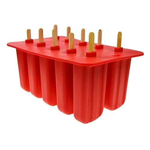 camillia-de 10 Silicone Ice Cream Mould Frozen Maker Tools Ice Cream Tray Mold Old Popsicle Silica Gel Ice Cream Mould White/Pink/Red (Red Ice Cream Maker)