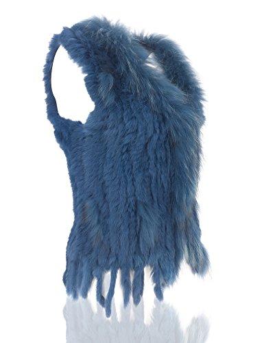 Uilor® Femmes 100% naturel Knit lapin fourrure Veste avec col de fourrure de rat Cyan