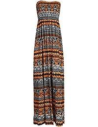 Nouveau femmes tonte recueillir boobtube bandeau dames bustier longue d'été maxi robe plus la taille toute couleur 44-50 XL / XXL (40-42, l'orange aztèque)