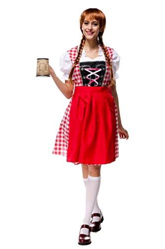 Bigood Oktoberfest Costume Femme de Ménage Halloween Déguisement Vêtement Traditionnel Multicolore