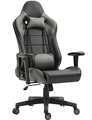 Tiigo Racing Silla Gaming Silla Ergonómica Silla de PC Gamer(Gris)