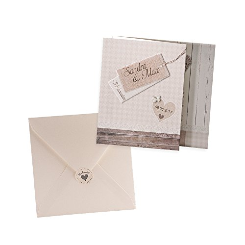 Holz-Optik Einladungskarte Prisca zur Hochzeit, 3 Stück Blanko Hochzeitseinladungen mit passendem Umschlag u. weddix Siegeletikett