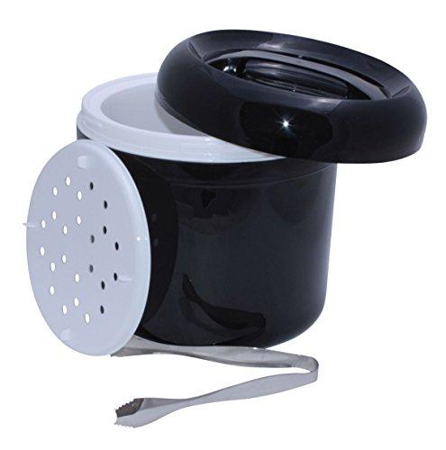 Eiswürfelbehälter schwarz mit Eiswürfelzange
