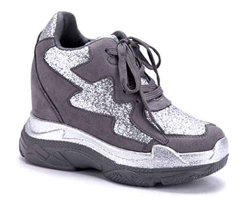 Schuhtempel24 Damen Schuhe Low Sneaker grau Keilabsatz Glitzer 10 cm High Heels