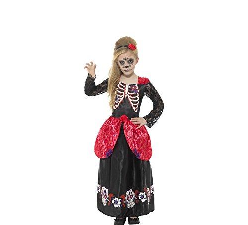 hen Deluxe Tag der Toten Kostüm, Kleid und Haarband, Alter: 7-9 Jahre, 45188 ()