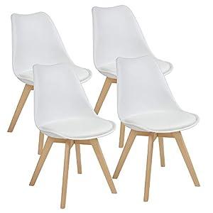 Albatros Esszimmerstühle AARHUS 4-er Set, Weiss mit Beinen aus Massiv-Holz, Buche, skandinavisches Retro-Design
