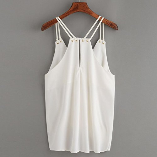 Manadlian T-Shirt Femmes, T-Shirt Femmes 2017 Femmes Casual Manches Crop Top Gilet Réservoir Chemisier Caraco Blanc