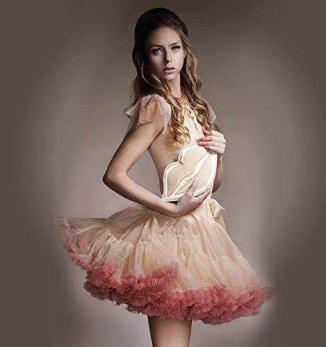 Caissen Damen Elastisch Puffy Tüll Tütü Röcke Petticoat Ballett Blase Ballkleid Bowknot Mehrfarbengroß Tanzrock Weiß - 3