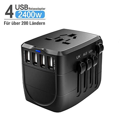 Universal Reiseadapter 4 USB, 2400W Weltweit Reisestecker für USA/EU/UK/Japan/Kanada/Thailand/Australien über 200 Länder, Stromadapter, Schwarz - Australien Haartrockner Für