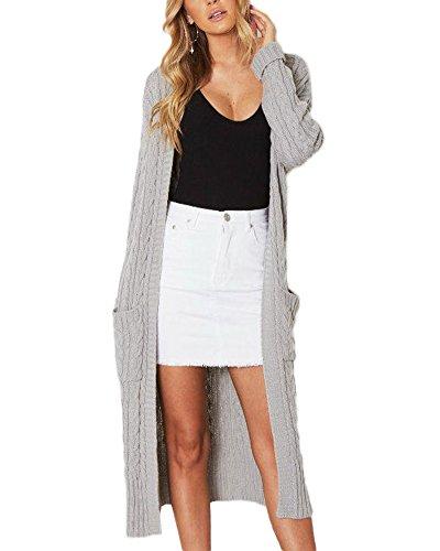 Femmes Tricoté Gilet Pulls Manteau Casual Manches Longues Tricot Chandail Cardigans Outwear Tops Gris Taille Unique