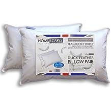 Homescapes - Dos Almohadas de lujo de plumas de pato, 48 x 74 cm, 100% algodón, antiácaros