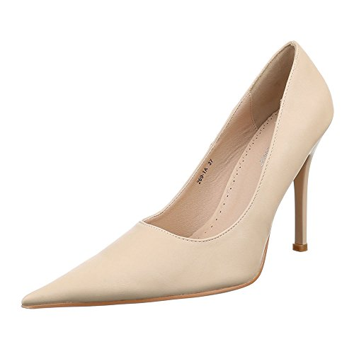 Damen Schuhe, 269-1A, PUMPS HIGH HEELS STILETTO Creme