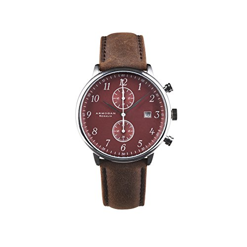 armogan regalia - red ruby c71 - men's chronograph watch leather strap