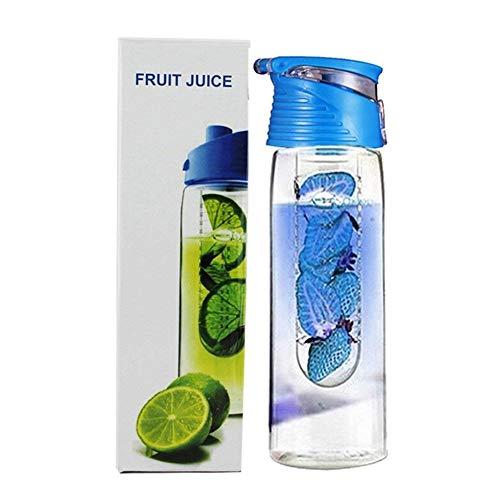 NiceButy Praktisches Obst Flüssigkeit Flasche kreative Frucht Flüssigkeit 100% kein bpa Flip-Cover, geeignet für Büro, zu Hause, im Freien Gebrauch blau (800ml) Haushaltsprodukte