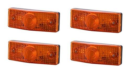 4 x Orange Begrenzungsleuchte Seitenleuchte 12V 24V mit E-Prüfzeichen Positionsleuchte Flache Auto LKW PKW KFZ Lampe Leuchte Licht Gelb Birne