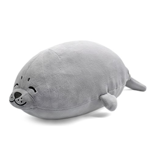 YINGGG Seal Soft Plush Pillow Animal Stuffed Toy Gift 70*40*23cm for Kids/Adults (Large, Grey)