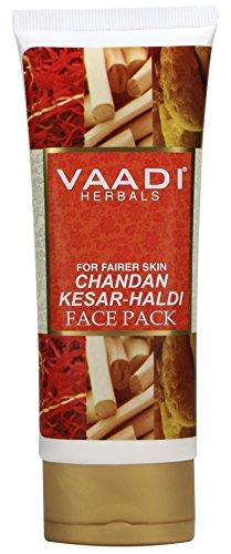Vaadi Herbals Chandan kesar Haldi Fairness Face Pack, 120g  available at amazon for Rs.82
