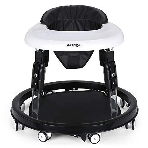 Fascol Andador para Bebés con 4 Frenos Anti-vuelco Ajustable con Cinturón de Seguridad Andador Plegable Bebe Carga Máxima 15 kg, Negro