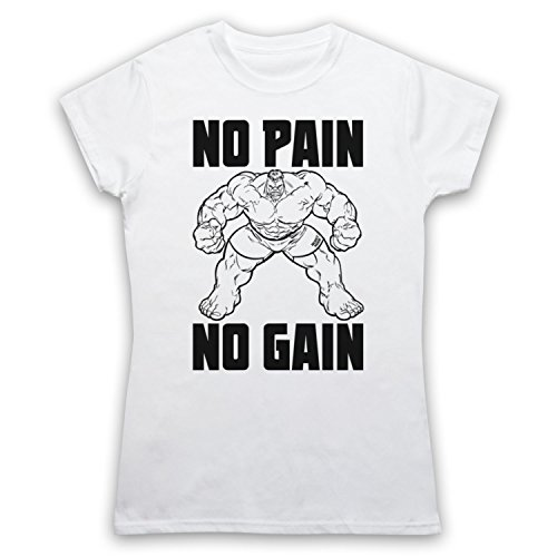 No Pain No Gain Bodybuilding Slogan Damen T-Shirt Weis