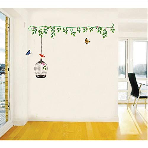 HLLCY Wandaufkleber Einfache Vogelkäfig Pflanzen Reben Mädchen Zimmer Wohnkultur Selbstklebende Aufkleber Fenster Vinyl Poster Günstige Decor