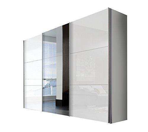 Express Möbel Schwebetürenschrank 3-türig mit Spiegel, Weiß Lack, Korpus Polarweiß, BxHxT 300x216x68 cm, Art Nr. 45340-203