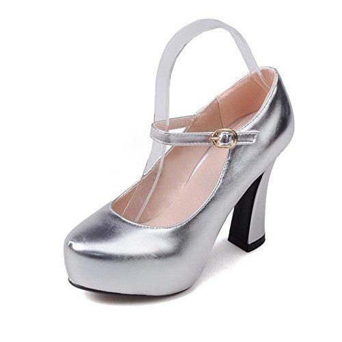 VogueZone009 Femme Couleur Unie Matière Mélangee à Talon Haut Rond Boucle Chaussures Légeres Argent