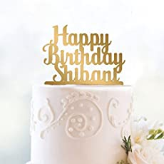 Happy Birthday Cake Topper (Personalised) in Gold by Engrave