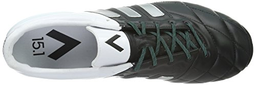 adidas Ace 15.1 Fg/Ag Leather, Scarpe da Calcio Uomo Nero (Core Black/Matte Silver/Ftwr White)
