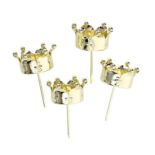 B&B 4 STÜCK Kerzenstecker Krone Gold Farben Teelichthalter zum Stecken Kerzenhalter Metall Kerzenpick Stecker Kerzenstecker Adventskranz Stecker Windlichtstecker Halterung