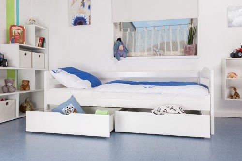 """Kinderbett / Jugendbett """"Easy Möbel"""" K1/n/s inkl 2 Schubladen und 2 Abdeckblenden, 90 x 200 cm Buche Vollholz massiv weiß lackiert"""