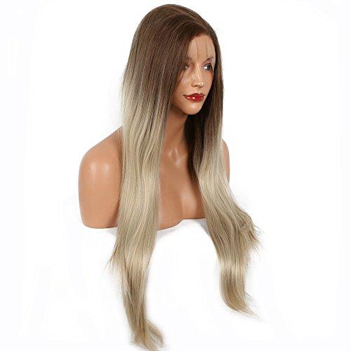 Natürlich glatt lang Haar Braun Ombre Blond Zwei Ton Farbe Hitzeresistente Synthetik Lace Front Perücken für Drag Queen Frauen Damen Mädchen Ersatz Perücke klebefreien Hälfte Hand auf Spitze frei, natürlicher Haaransatz 66cm (2-ton-blonde Perücke)