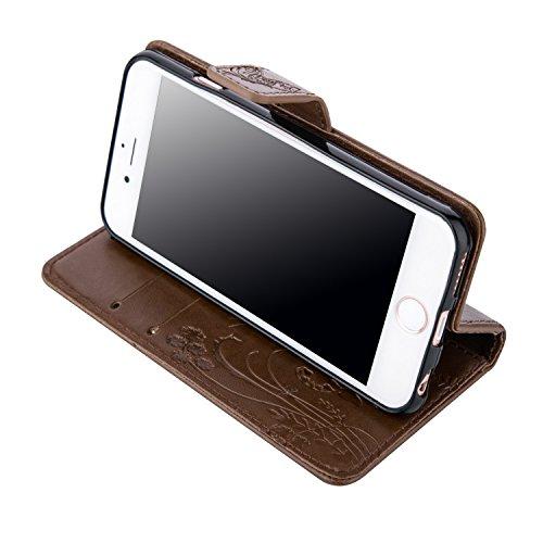 Voguecase® für Apple iPhone 6/6S 4.7 hülle,(Feder/Grau) Kunstleder Tasche PU Schutzhülle Tasche Leder Brieftasche Hülle Case Cover + Gratis Universal Eingabestift Schmetterlinge 2-Braun