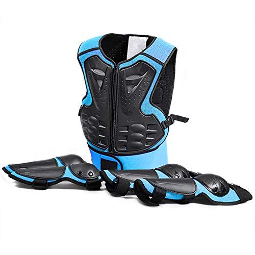 TZTED Schutz Körper Weste Rüstung (5-13 Jahre) Rüstung für Kinder Fahrradschutzanzug Sport Rüstung Knieschützer Ellenbogen,Blue -