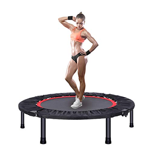 Ren Chang Jia Shi Pin Firm Indoortrampoline Trampolin Zusammenklappbar Fitness Trampolin langlebig Bungee Schwere Maschine (Color : Black, Size : 127 * 127 * 126cm)