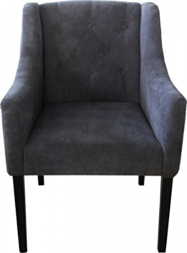 Casa Padrino Luxury Dining Room Gray / Black with Armrests