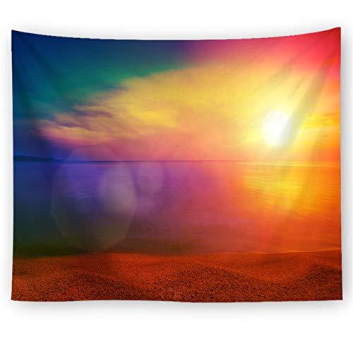 LYJZH Mandala Wandteppich Baumwolle Wandbehang Tapisserie Bohemian Wandtuch Blumen Hippie Tapestry Deko-Stoff Sunset Print 8 100x75cm -