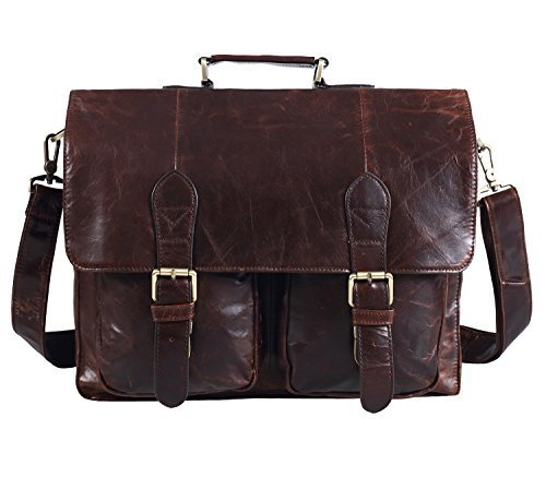 "Polare Natural Leather 14"" Removeable Laptop Compartment Business Briefcase Messenger Bag For Men"