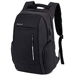 Xnuoyo Sac à Dos Ordinateur Portable, 17,3 Pouces Laptop Backpack Étanche Sac à Bandoulière Laptop avec Chargeur USB et Port de Casque, Sac à Dos PC Portable pour Collège Affaires et Voyage, Noir