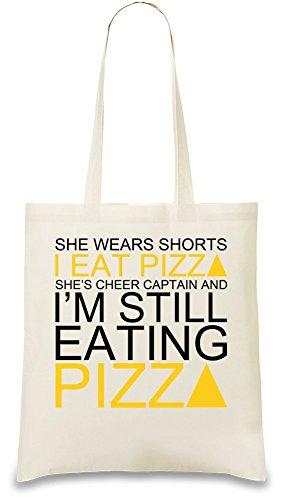 She Wears Shorts I Eat Pizza She's Cheer Captain Slogan Tasche (Cheer Retro Shorts)