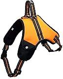 Hundegeschirr für kleine/ mittelgroße/ große Hunde und Welpen | mit Beuteltasche | reflektierendes 3M Sicherheitsgeschirr | gefüttert, weich und atmungsaktiv | L | orange