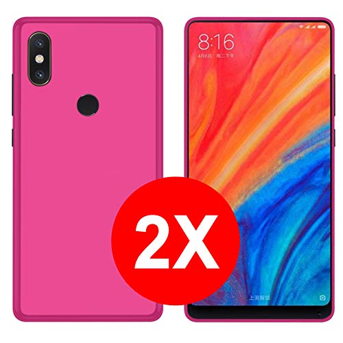 TBOC 2X Funda de Gel TPU Rosa para Xiaomi Mix 2S (5.99 Pulgadas) [Pack: Dos Unidades] de Silicona Ultrafina y Flexible