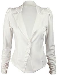 Purple Hanger - Damen Geraffte Lange Ärmel mit Knopf Verschluss Taillierte Jacke Blazer - 38, Creme