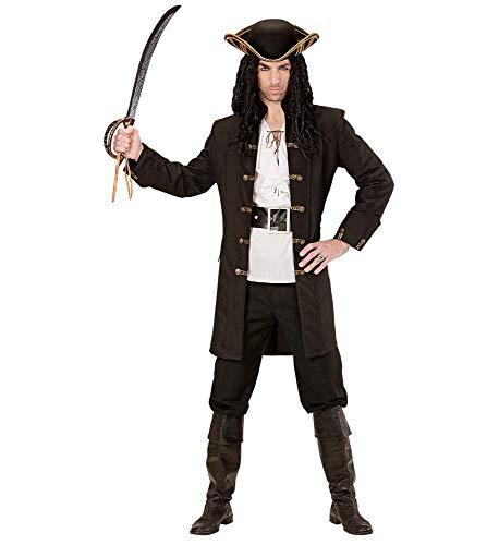 shoperama Schwarzer Herren-Mantel mit goldenen Knöpfen für Piraten Fluch der Karibik Kostüm Seeräuber Jacke, Größe:L