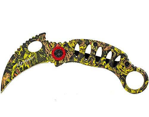 ELFMONKEY Karambit extra Scharf Klappmesser Taschenmesser Messer Einhandmesser Rettungsmesser Angelmesser Jagdmesser Survival Outdoor CS-GO Look
