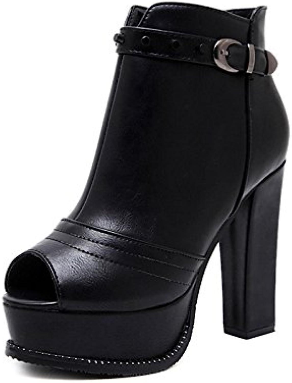 ZHZNVX HSXZ Zapatos de Mujer Polipiel Primavera Otoño Moda Botas Botas Botas de Combate Chunky Talón Peep Toe...
