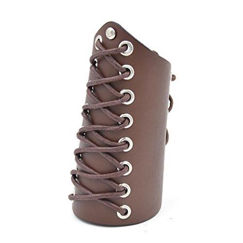 YNuth Pulsera de Brazalete de Cuero con Cordones para Ajustar el Tamaño de Color Café