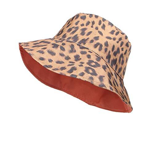 Moserian Damen Frühling und Sommer Leopard Print Faltbarer breiter Krempe Sonnenschirm Fischerhut - Leopard Print Höschen