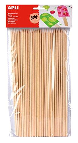 APLI - Bolsa palo redondo madera pincho 200 x 3 mm, 50 uds