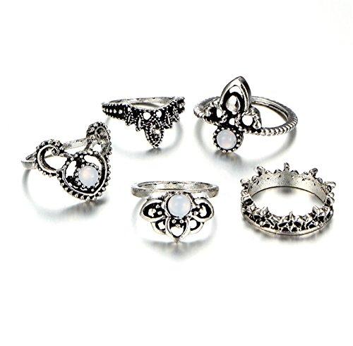 Galwaygirls Ring-Frauen-Krone Lotus Diamant Juwel Einfache Legierung 5 Stück Set Neue Schmuckstücke